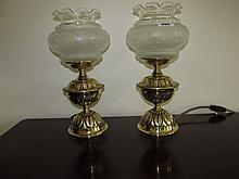 Pair of Embossed Brass and Glass Shade Lamps