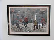 Gilt and Ebony Framed lithograph Military Scene In