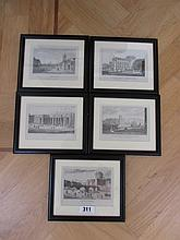 George Petrie Five Framed Etchings of Dublin and