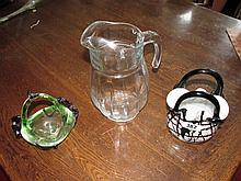Lot of Three Vintage Glass Items Including Jug and