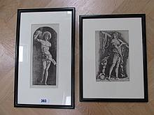 Two Antique Framed Engravings Roman Man 10 Inches