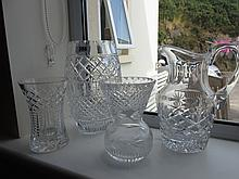 Collection of Four Cut Crystal Vases and Jug
