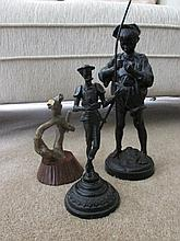 Modern Bronze Sculpture and Two Antique Painted