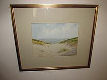 Edwardian Framed Watercolour Beach Scene Signed 10