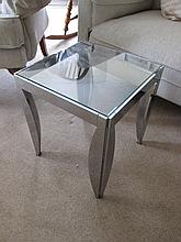 Modern Chrome and Glass Low Table