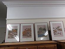 Four Korean Prints on Rice Paper Each 16 High x 11