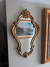 Gilt Framed Mirror of Cartouche Form 20 Inches