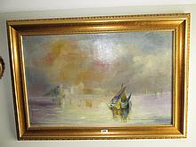 Gilt Framed Oil on Canvas Boating Scene Signed
