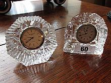 Pair of Cut Crystal Desk Clocks Including One by