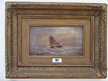 Victorian Marine School Oil on Canvas Gilt Framed