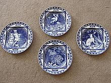 Set of Four Minton Plates Decorated with Aesops