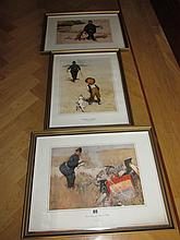 Set of Three Vintage Lawson Wood Comical Framed