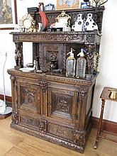 Antique Well Carved Oak Refectory Cabinet with