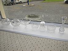 Seven Pieces of Cut Crystal Including a Bohemia