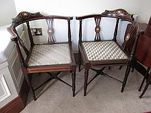 Pair of Antique Mahogany Corner Chairs with Ivory