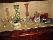 Shelf of various Items Including Crystal