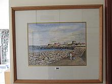 Patrick Heeney Seaside Scene Watercolour Signed 11