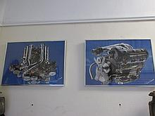 Pair of Framed Mercedes Engines Fine Art Prints