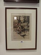 Percy Robertson Framed Etching Church and