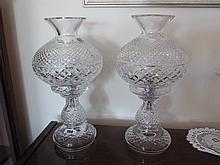 Pair of Waterford Cut Crystal Table Lamps Each 15