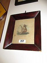 Regency Rosewood Framed Etching Cupid Blowing