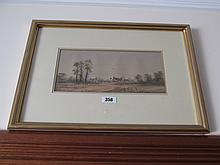 Gilt Framed Antique Watercolour Countryside Scene