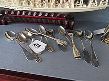 Eleven Antique Solid Silver Antique Tea Spoons