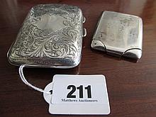 Two Antique Solid Silver Cigarette and Card Cases