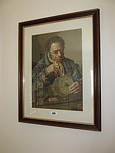Antique Framed Lithograph Horologist at Work 17