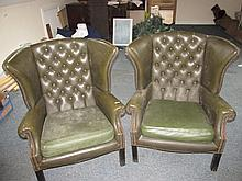 Pair of Dep Button Upholstered Leather Wingback