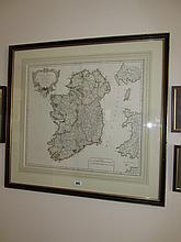 Framed Antique Rayome Map of Ireland French