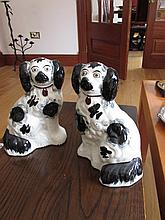 Pair of Antique Staffordshire Dogs Each 8 Inches