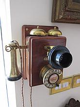 Working Early 1900s Telephone 10 Inches High