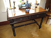 Antique Well Carved Side Table of Two Drawers