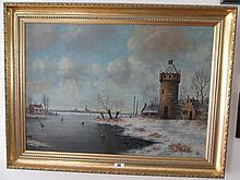 Winter Ice Skating Scene Signed J Schuiermanni
