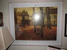 Autumn Scene Framed Lithograph 21 inches High x 27