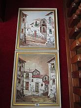J Paswal Spanish Village Scenes A Pair Oil on