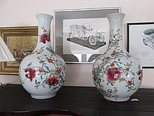 Pair of Oriental Floral Decorated Long Neck Vases