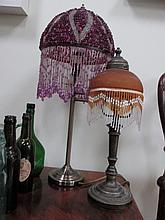 Two Modern Table Lamps with Beaded Shades