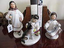 Three Vintage Russian Porcelain Figures Tallest 8