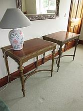 Pair of Victorian Gilded Tables with Inset