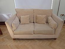 Contemporary Design Upholstered Settee on Tapered