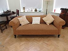 Edwardian Roll Back Upholstered Settee on Scrolled