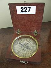 Antique Mahogany Cased Brass Bound Compass Box