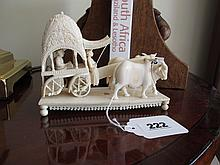 Antique Indian Ivory Figure of An Oxen with Cart 3