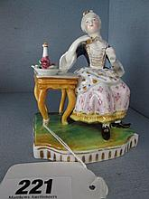 Porcelain Figure of Victorian French Seated Lady 4