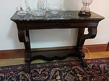 Antique Regency Marble Top Figured Mahogany