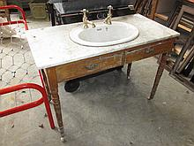 Edwardian Marble Top Sink Stand with Taps 30 High