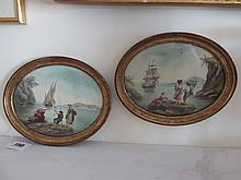 Pair of Early Victorian Oval Framed Watercolours