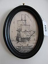 Marine School Oval within Ebonised Frame Depicting